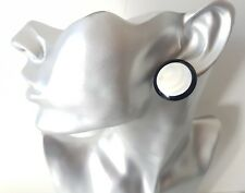 1 pair of big 25mm black & white round  CLIP ON button style stud earrings retro