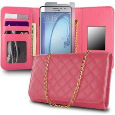 for Samsung Galaxy On7 Wallet Case - Hot Pink Purse Quilted Bag Mirror Pouch