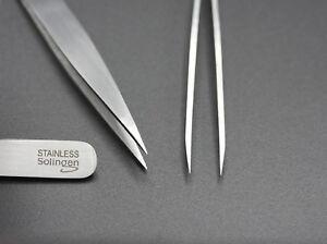 Pinzette spitz 10 cm Solingen Germany Rostfrei Edelstahl Zupfpinzette Stainless