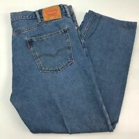 Levi's 505 Denim Jeans Mens 42X32 Blue Straight Regular Fit 100% Cotton Washed