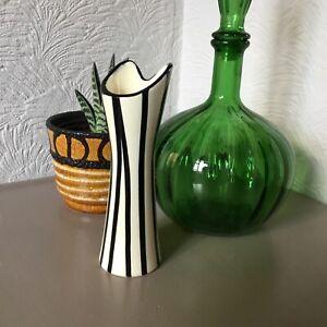 Vintage 1950s MCM Austrian Keramik Black & White Art Pottery Vase #5698