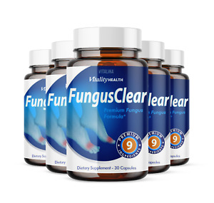 (5 Pack) Official Fungus Clear Probiotic, for Men and Women, 1 Month Supply