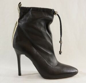 Steven Ankle Booties Womens 6 Leather Black Racing Stripe 90's vibe drawstring