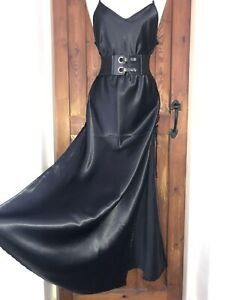 Extreme Shine Satin Long Lace up Daring Slip Dress Nightie  Size 14,16 Bust 44in
