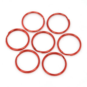 25mm RED QUALITY ROUND SPLIT KEY RING DOUBLE LOOP CRAFTS FINDINGS KEYRINGS