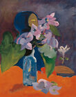 Still Life With Flowers And Idol Paul Gauguin Painting Print on Canvas SM 8x10
