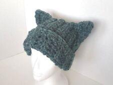 Handmade Womens Crochet Turquoise Chunky Cat Beanie Hat Wool Blend One Size