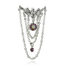Top Down Vintage Cross Chandelier Belly Button Reverse Navel Ring Dangle Purple