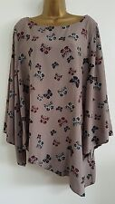 NEW Plus Size 16-28 Butterfly Print Bell Sleeve Asymmetric Tunic Top Blouse
