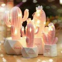 Cactus LED Table Lamp Pink Cute Star Lamp Small Night Light Bedroom Decoration