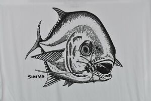 NEW Simms Men's Fishing Hackett Pen Permit L/S Moisture Wicking Tech Shirt White
