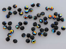 SWAROVSKI® Crystal Round Beads,Article #5000 4mm Round Beads, FIFTY(50) JET AB