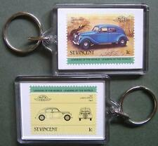 1937 LANCIA APRILIA Car Stamp Keyring (Auto 100 Automobile)