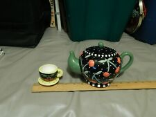 '90s Mary Engelbreit ~ Meink {Lot of 2} Teapot Coin Bank w/ Teacup Trinket Dish