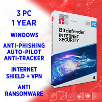 Bitdefender Internet Security 2021 3 PC 1 year, Activation Key FULL EDITION +VPN
