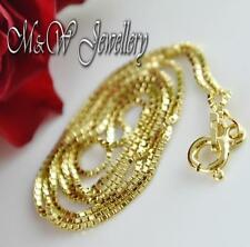 GOLD PLATED 925 STERLING SILVER BOX CHAIN NECKLACE 18 inch ( 45cm )