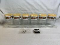 NEW 1970'S Vintage Gemco 13 PC Spice Rack Set Glass Jar Shakers SPICE OF LIFE