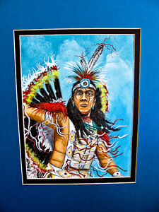 Navajo artist Edward A.Walker acrylic canvas board art fancy dancer Chinle Az
