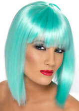 Ladies 80s 1980s Glam Fancy Dress Wig Neon Aqua Hen Party New by Smiffys