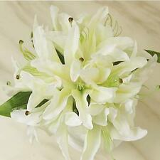 White Silk Lily Bouquet Artificial Bride Hands Holding Flower Wedding Decor