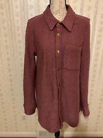 Soft Surroundings Plum Rose Boucle My Boyfriend Snap Front Shirt size medium