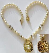 collier bijou rétro perle cristal diamant pendentif pampille couleur or * 3610