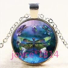 Vintage Dragonfly Cabochon Tibetan silver Glass Chain Pendant Necklace #3895