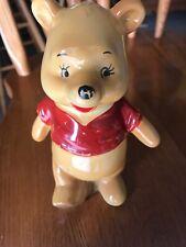 Vintage Disney Winnie the Pooh Walking Ceramic Figurine Honey Pot Made In