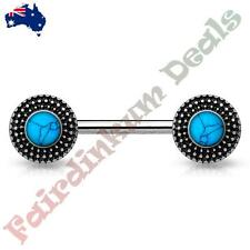 Nipple Barbell With Antique Silver Tribal Shield Ends Turquoise Centre