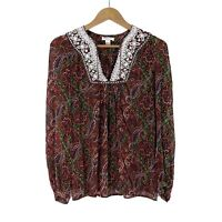Nieves Lavi New York Women's Size Small 100% Silk Paisley Print Sequin Blouse