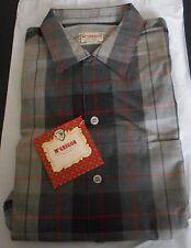 NOS 50's-60's McGREGOR Black Red Silver Shadow Plaid! Loop Collar! ROCKABILLY M