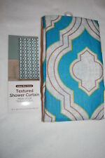 """Textured Fabric Shower Curtain MOROCCAN PRINT Turquoise Gray Green 72"""" W x 70"""" L"""