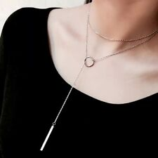 Kette, Halskette, 925 Silber, Y-Kette, Anhänger, Stäbchen, Ring, Kreis, NEU