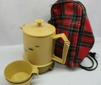 Vintage Regal Poly Perk 2 to 4 cup Electric Coffee Maker W/ Cups- Carrying Case.