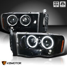 Jet Black 2002-2005 Dodge Ram 1500 2500 3500 Halo Projector Headlights Pair