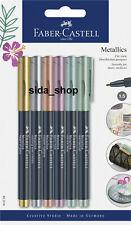Faber-Castell Metallics Marker 6er Set 1,5mm Tinte Edler Metalliceffekt
