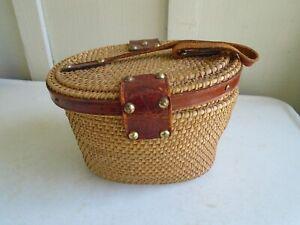 Vintage Forsum 1960s Wicker Straw Bag Purse Leather Trim