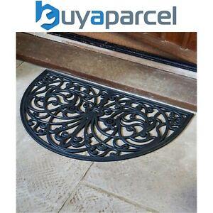 Smart Garden Half Moon Rubber Victorian Cast Iron Style Door Mat Black Doormat