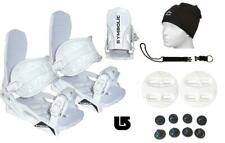 Symbolic Snowboard Bindings+Leash+Beany+Burton 3D Fit Mens Boots 9-15 L XL White