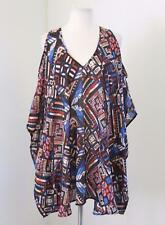 Show Me Your Mumu Geometric Print Cold Shoulder Tunic Kimono Blouse Sz M Blue