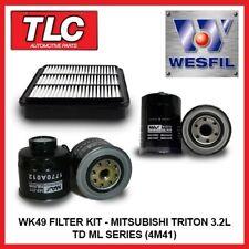 WK49 Air Oil Fuel Filter Kit Mitsubishi Triton ML 3.2L TD Diesel 4M41