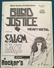 BLIND JUSTICE~ORIG 1980s CONCERT FLYER~PHOENIX ARIZONA~HEAVY METAL~SALEM~LACE
