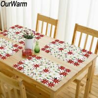 2x Embroidered Christmas Table Placemats Poinsettia Placemats Holiday Table Deco