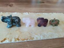 4X Gemstones Hand Carved Elephant, Crystal Ornament Decor Elephant Statue