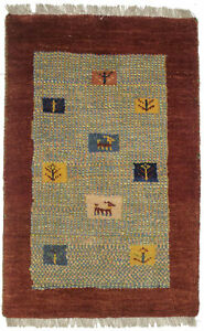 Rusty Red Bordered Tribal 2X3 Gabbeh Contemporary Oriental Rug Kids Room Carpet
