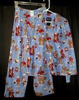 NEW Nick & Nora Kids Pajamas Blue Sock Monkey Flannel Set Boy Girl Size L 10/12