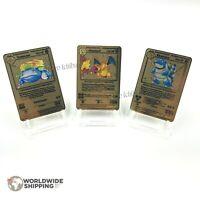 Carte Pokemon Charizard / Blastoise / Venusaur Gold Custom Metal Card