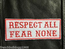 Biker Patch ricamate Respect all Fear NOE tonaca Harley Chopper Red & White, 81