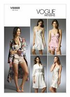 V8888 Vogue 8888 Sewing Pattern Misses' Lingerie Robe Camisole Slip Panties NEW