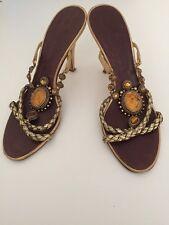 Giuseppe Zanotti Women's Gold Beaded Strapped Slip On Heels Size 37